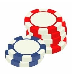 Red and bue casino tokens isometric 3d icon vector image vector image