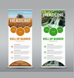 template vertical roll up banner with round and vector image
