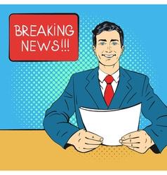 breaking news pop art vector image