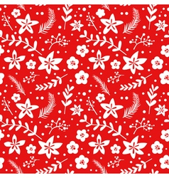 Christmas Floral Background - seamless pattern vector image vector image