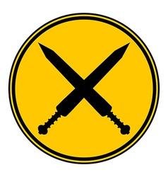 Crossed gladius swords button vector image