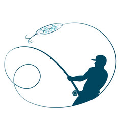 fisherman with a fishing rod silhouette vector image