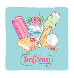 grunge ice cream banner design - vintage dessert vector image