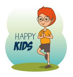 happy boy cartoon vector image vector image