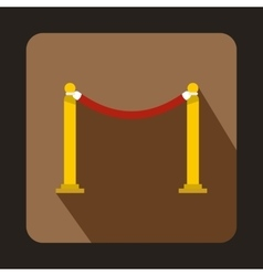 Red barrier rope icon flat style vector