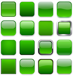 Square green app icons vector image