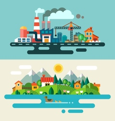 Urban and village landscape vector image