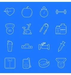 Fitness and gym thin lines icons set vector image