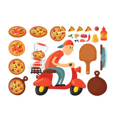 italian cook pizza delivery boy vector image