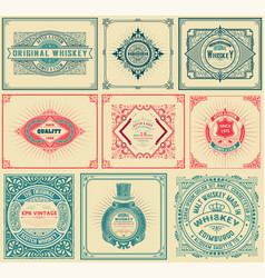 9 old cards with floral details vector