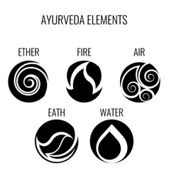 ayurveda elements and doshas icons isolated vector image vector image