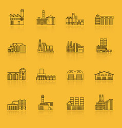 building factory outline icon set vector image vector image