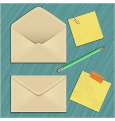 Envelope sticker and pencil eps10 vector image