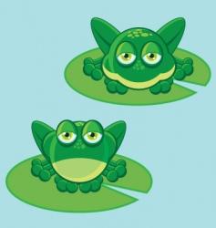 frog on leaf vector image vector image