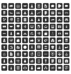 100 startup icons set black vector image