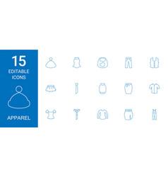 15 apparel icons vector