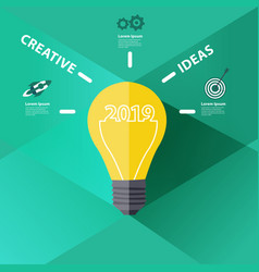 2019 new year with creative light bulb idea vector image