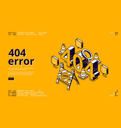 404 error isometric landing banner warning message vector image