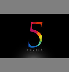 5 number rainbow colored logo company icon design vector