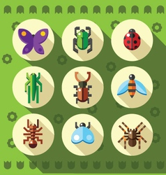 a set colorful flat insect bug icons vector image