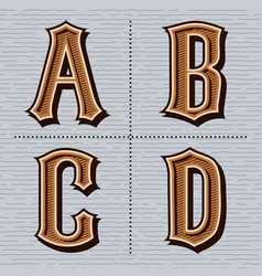 Alphabet western letters vintage design a b c vector