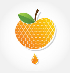 Apple icon with honey background greeting card vector