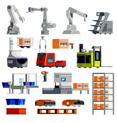 Automated warehouse equipment flat icons vector