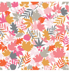 autumn abstract doodle leaves background vector image