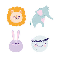 baby shower cute animals elephant lion bunny vector image