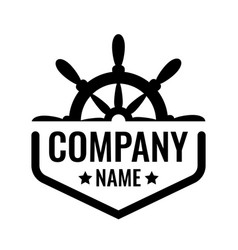 badge with ship steering wheel isolated on vector image