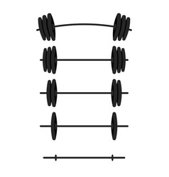black barbells with different weight set for gym vector image