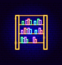bookcase neon sign vector image
