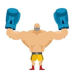 Boxer winner Athlete in blue gloves Bodybuilder vector image