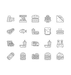 burger line icons linear signs set vector image
