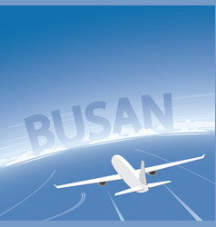 Busan skyline flight destination vector