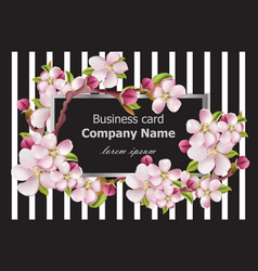Business card cherry blossom flowers on striped vector