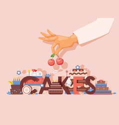 Cakes professional bakery vector