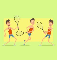 cartoon flat funny sportsman character set vector image