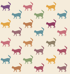 Cat seamless pattern pets background kitten vector