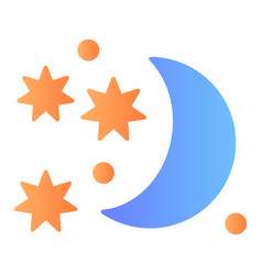 Celestial flat icon moon and stars color icons in vector