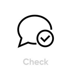 check message social icon editable line vector image