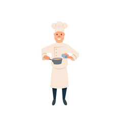 chef in cooking process food cartoon man vector image