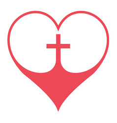 christian cross in heart symbol faith in vector image