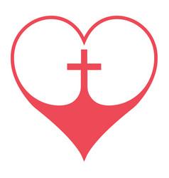 Christian cross in heart symbol faith vector