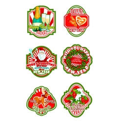 Christmas and new year holiday badge design vector