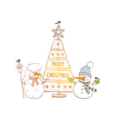 Christmas card with cute snowman and rustic vector