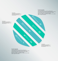 Circle template consists of five blue parts on vector