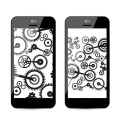 Cogs - gears on mobile phone cog gear on vector