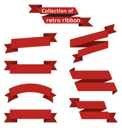 collection of retro ribbons on white background vector image