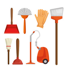 colorful set of cleaning supplies vector image